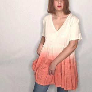 NWT~ ENTRO Boho Dip-dye Ombre T-shirts Tunic Dress